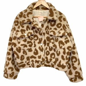 Miss Lola Leopard Teddy Jacket NWT